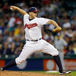 Cleveland Indians starting pitcher Justin Masterson delivers against the Kansas City Royals in the seventh inning of a baseball game Wednesday, June 19, 2013, in Cleveland. (AP Photo/Mark Du …