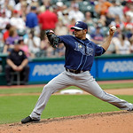 Tampa Bay Rays' Alex Torres pitches against the Cleveland Indians in a baseball game Saturday, June 1, 2013, in Cleveland. (AP Photo/Mark Duncan)
