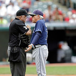 Tampa Bay Rays manager Joe Maddon, right, talks to home plate umpire Brian O'Nora during a baseball game against the Cleveland Indians Saturday, June 1, 2013, in Cleveland. (AP Photo/Mark Du …