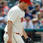 Cleveland Indians relief pitcher Matt Langwell hangs his head after giving up a two-run home run to Tampa Bay Rays' Evan Longoria in the eighth inning of the MLB American League baseball gam …