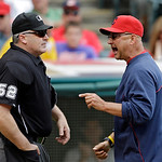 Cleveland Indians manager Terry Francona, right, argues with home plate umpire Bill Welke (52) after being ejected in the fifth inning of a baseball game against the Tampa Bay Rays, Sunday, …
