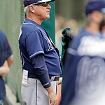 Tampa Bay Rays manager Joe Maddon watches from the dugout during a baseball game against the Cleveland Indians Saturday, June 1, 2013, in Cleveland. (AP Photo/Mark Duncan)