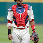 Cleveland Indians catcher Carlos Santana reacts before a baseball game against the Tampa Bay Rays Saturday, June 1, 2013, in Cleveland. (AP Photo/Mark Duncan)