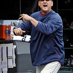 Cleveland Indians manager Terry Francona gets in the last word after being ejected by home plate umpire Bill Welke in the fifth inning of the MLB American League baseball game against the Ta …