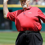 Hall of Fame pitcher Gaylord Perry throws a ceremonial pitch before a baseball game between the Tampa Bay Rays and the Cleveland Indians, Sunday, June 2, 2013, in Cleveland. (AP Photo/Mark D …