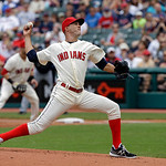 Cleveland Indians' Ubaldo Jimenez pitches against the Tampa Bay Rays in a baseball game Saturday, June 1, 2013, in Cleveland. (AP Photo/Mark Duncan)