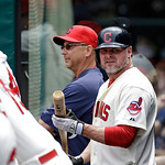 Cleveland Indians designated hitter Jason Giambi waits in the dugout during a baseball game against the Tampa Bay Rays Saturday, June 1, 2013, in Cleveland. (AP Photo/Mark Duncan)