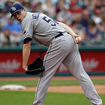 Tampa Bay Rays starting pitcher Jeremy Hellickson checks on Cleveland Indians' Jason Kipnis at first base in the fifth inning of a baseball game Sunday, June 2, 2013, in Cleveland. (AP Photo …