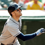 Tampa Bay Rays' Evan Longoria watches his two-run home run off Cleveland Indians relief pitcher Matt Langwell in the eighth inning of a baseball game Sunday, June 2, 2013, in Cleveland. (AP …