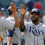 Tampa Bay Rays relief pitcher Fernando Rodney, right, celebrates with his teammates after a 11-3 win over the Cleveland Indians in the MLB American League baseball game Sunday, June 2, 2013, …