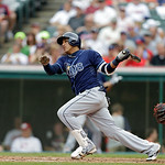 Tampa Bay Rays' Yunel Escobar bats against the Cleveland Indians in a baseball game Saturday, June 1, 2013, in Cleveland. (AP Photo/Mark Duncan)