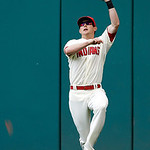 Cleveland Indians center fielder Drew Stubbs leaps to catch a fly ball by Tampa Bay Rays' Kelly Johnson in the eighth inning of a baseball game Sunday, June 2, 2013, in Cleveland. Johnson's  …