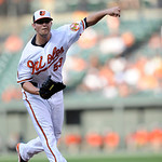 Baltimore Orioles starting pitcher Zach Britton (53) delivers against the Cleveland Indians during the first inning of a baseball game, Monday, June 24, 2013, in Baltimore. (AP Photo/Nick Wa …