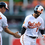 Baltimore Orioles' Nick Markakis (21) rounds third and is greeted by third base coach Bobby Dickerson (11) after his home run against the Cleveland Indians during the first inning of a baseb …