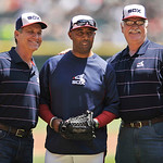 Former Chicago White Sox players from the 1983 team Floyd Bannister left, Harold Baines center, and Dennis Lamp right, pose for a photo after Bannister and Lamp threw out the ceremonial firs …