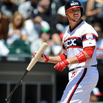 Chicago White Sox's Tyler Flowers reacts to striking out during the third inning game of a baseball game against the Cleveland Indians in Chicago, Sunday, June 30, 2013. Cleveland won 4-0. ( …