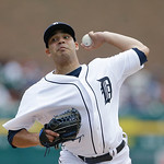 Detroit Tigers starting pitcher Jose Alvarez throws during the first inning of a baseball game against the Cleveland Indians in Detroit, Sunday, June 9, 2013. (AP Photo/Carlos Osorio)