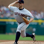 Cleveland Indians starting pitcher Justin Masterson throws during the first inning of a baseball game against the Detroit Tigers in Detroit, Sunday, June 9, 2013. (AP Photo/Carlos Osorio)