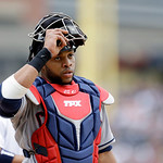 Cleveland Indians catcher Carlos Santana looks to the bench during the second inning of a baseball game against the Detroit Tigers in Detroit, Sunday, June 9, 2013. (AP Photo/Carlos Osorio)