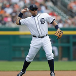 Detroit Tigers third baseman Miguel Cabrera warms up during the first inning of a baseball game against the Cleveland Indians in Detroit, Sunday, June 9, 2013. (AP Photo/Carlos Osorio)