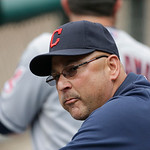 Cleveland Indians manager Terry Francona is seen in the dugout during the fourth inning of a baseball game against the Detroit Tigers in Detroit, Sunday, June 9, 2013. (AP Photo/Carlos Osori …