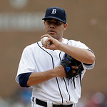 Detroit Tigers starting pitcher Jose Alvarez prepares to throw during the second inning of a baseball game against the Cleveland Indians in Detroit, Sunday, June 9, 2013. (AP Photo/Carlos Os …