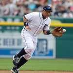 Detroit Tigers third baseman Miguel Cabrera prepares to throw out Cleveland Indians' Ryan Raburn at first during the second inning of a baseball game in Detroit, Sunday, June 9, 2013. (AP Ph …