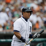 Detroit Tigers' Miguel Cabrera prepares to bat during the sixth inning of a baseball game against the Cleveland Indians in Detroit, Sunday, June 9, 2013. (AP Photo/Carlos Osorio)