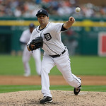 Detroit Tigers starting pitcher Jose Alvarez throws during the sixth inning of a baseball game against the Cleveland Indians in Detroit, Sunday, June 9, 2013. (AP Photo/Carlos Osorio)