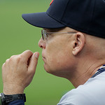 Cleveland Indians third base coach Brad Mills is seen in the dugout during the seventh inning of a baseball game against the Detroit Tigers in Detroit, Sunday, June 9, 2013. (AP Photo/Carlos …