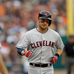 Cleveland Indians' Ryan Raburn arrives a home plate after his solo home run during the fifth inning of a baseball game against the Detroit Tigers in Detroit, Sunday, June 9, 2013. (AP Photo/ …