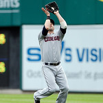 Cleveland Indians second baseman Jason Kipnis catches the pop-up from Detroit Tigers' Miguel Cabrera during the first inning of a baseball game in Detroit, Sunday, June 9, 2013. (AP Photo/Ca …