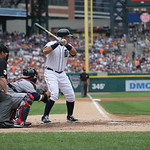 Detroit Tigers' Miguel Cabrera bats during the third inning of a baseball game against the Cleveland Indians in Detroit, Sunday, June 9, 2013. (AP Photo/Carlos Osorio)