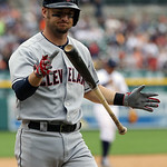 Cleveland Indians' Ryan Raburn walks back to the dugout after striking out to end a baseball game against the Detroit Tigers in Detroit, Sunday, June 9, 2013. Detroit defeated the Indians 4- …