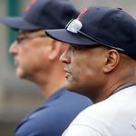 Cleveland Indians bench coach Sandy Alomar is seen with manager Terry Francona in the dugout during the fourth inning of a baseball game against the Detroit Tigers in Detroit, Sunday, June 9 …