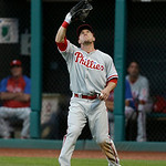 Philadelphia Phillies' Laynce Nix catches a fly ball hit by Cleveland Indians' Mike Aviles during the third inning of a baseball game, Wednesday, May 1, 2013, in Cleveland. (AP Photo/Tony De …