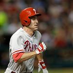 Philadelphia Phillies' Chase Utley runs out a ground ball in the sixth inning of a baseball game against the Cleveland Indians, Wednesday, May 1, 2013, in Cleveland. Utley was out. (AP Photo …