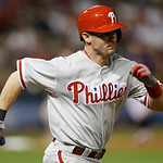 Philadelphia Phillies' Michael Young runs out a ground ball in the seventh inning of a baseball game against the Cleveland Indians, Wednesday, May 1, 2013, in Cleveland. Young was out. (AP P …