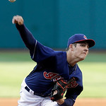Cleveland Indians pitcher Trevor Bauer delivers in the first inning of a baseball game against the Philadelphia Phillies, Wednesday, May 1, 2013, in Cleveland. (AP Photo/Tony Dejak)