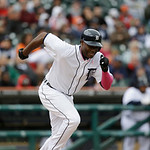 Detroit Tigers' Torii Hunter bats during the ninth inning of a baseball game against the Cleveland Indians in Detroit, Sunday, May 12, 2013. (AP Photo/Carlos Osorio)