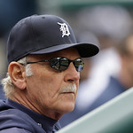 Detroit Tigers manager Jim Leyland is seen during the fifth inning of a baseball game against the Cleveland Indians in Detroit, Sunday, May 12, 2013. (AP Photo/Carlos Osorio)