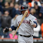 Cleveland Indians designated hitter Jason Giambi tosses his bat after a strike during the ninth inning of a baseball game against the Detroit Tigers in Detroit, Sunday, May 12, 2013. (AP Pho …