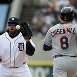 Detroit Tigers first baseman Prince Fielder catches the throw for the out on Cleveland Indians' Lonnie Chisenhall during the fourth inning of a baseball game in Detroit, Sunday, May 12, 2013 …