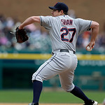 Cleveland Indians relief pitcher Bryan Shaw throws during a baseball game against the Detroit Tigers in Detroit, Sunday, May 12, 2013. (AP Photo/Carlos Osorio)