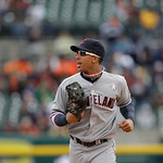 Cleveland Indians left fielder Michael Brantley runs to the dugout during the eighth inning of a baseball game against the Detroit Tigers in Detroit, Sunday, May 12, 2013. (AP Photo/Carlos O …