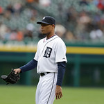 Detroit Tigers relief pitcher Jose Ortega walks back to the dugout after the seventh inning of a baseball game against the Cleveland Indians in Detroit, Sunday, May 12, 2013. (AP Photo/Carlo …