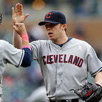Cleveland Indians relief pitcher Matt Albers, right, high-fives catcher Yan Gomes after their 4-3 win over the Detroit Tigers in the tenth inning of a baseball game in Detroit, Sunday, May 1 …