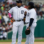 Detroit Tigers first baseman Prince Fielder, right, and third baseman Miguel Cabrera talk during the seventh inning of a baseball game against the Cleveland Indians in Detroit, Sunday, May 1 …