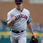 Cleveland Indians relief pitcher  Cody Allen reacts after striking out Detroit Tigers' Matt Tuiasosopo for the final out in the tenth inning of a baseball game in Detroit, Sunday, May 12, 20 …