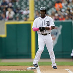 Detroit Tigers' Torii Hunter is seen at first base after a single during the first inning of a baseball game against the Cleveland Indians in Detroit, Sunday, May 12, 2013. (AP Photo/Carlos  …
